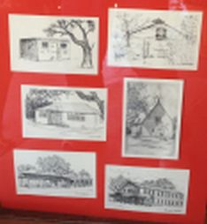 Historic Buildings, drawn by local artists. Click to enlarge