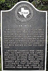 Oak Hill Historical Marker